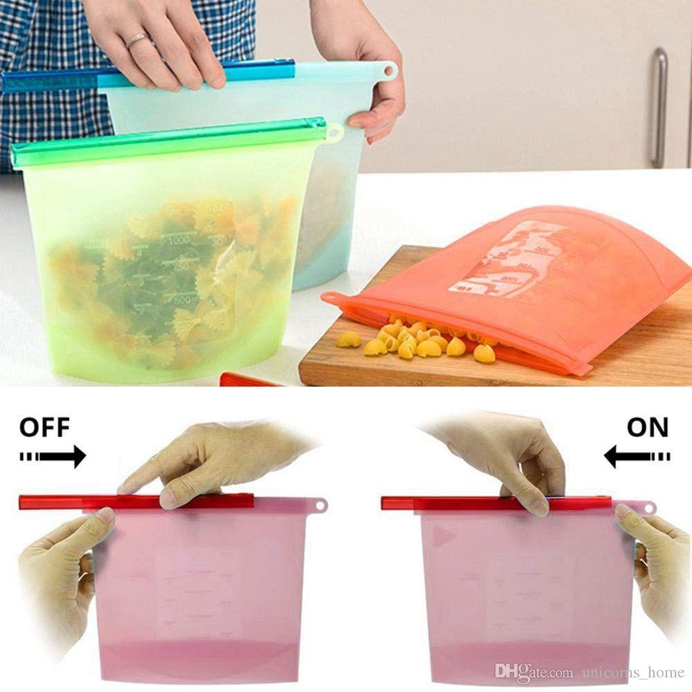 Kullanımlık Silikon Gıda Muhafaza Çantası Gıda Saklama Kabı Yönlü Mutfak Pişirme Taze Buzdolabı Taze Çanta cny1133
