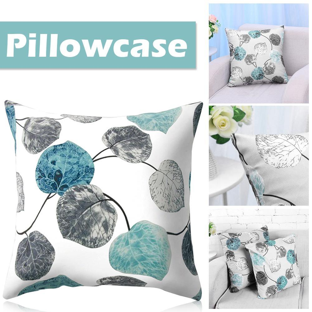 Pillowcases Decorative Pillows 45x45 Fashionable Nordic Style Simple Gray Blue Leaf Pattern Polyester Peach Skin Pillow Case #EO