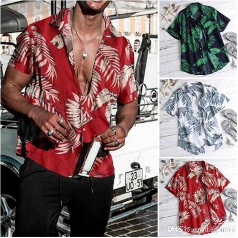 Los nuevos hombres de la vendimia camisas hawaianas 2020 Verano de la hoja Imprimir Beach usar camisas de los hombres ocasionales delgado atractivo apto de las camisas Top Camisa Masculina