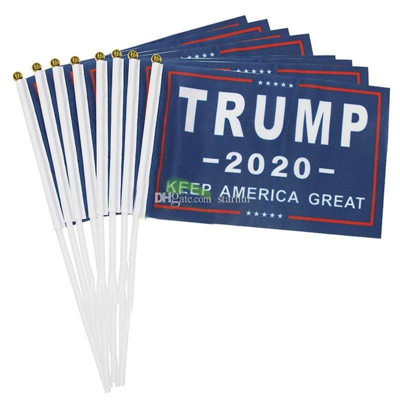 2020 Donald Trump Amerikan Bayrağı Amerika Büyük Banner Kadınlar İçin Trump Hand Held Banner Flags DHL WX9-1837 tutun