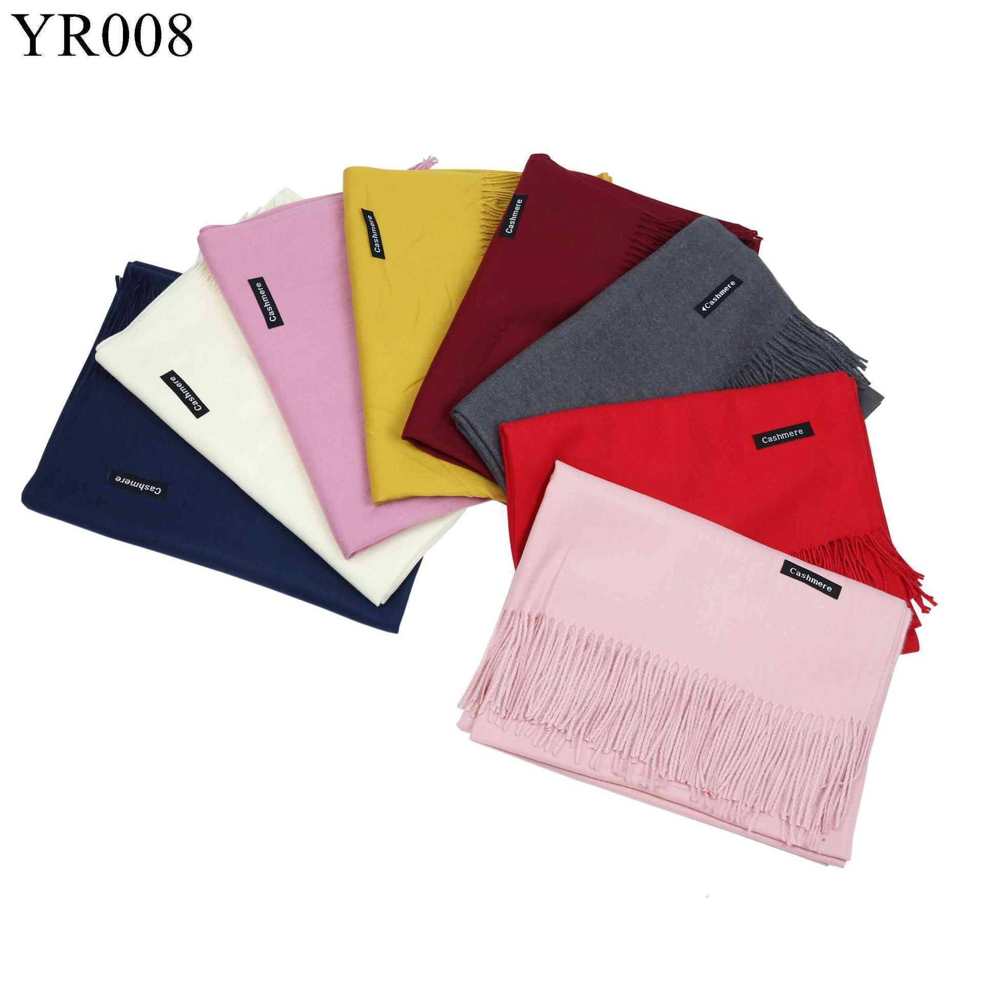Imite Cashmere Scarf Solid Color Xaile espessamento Monochrome Tassels Scarf presente Reunião Anual