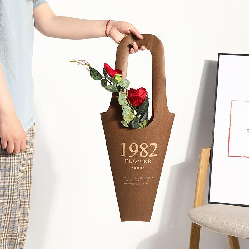 Embalaje Vintage Tote Portátil Regalo Flower Wrap Bolsa Impermeable 5pcs Kraft Saco Jedn