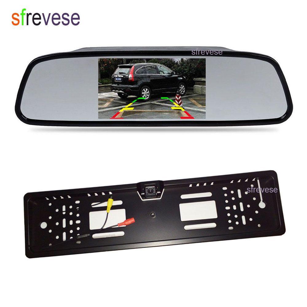 "4.3"" Car Vehicle LCD Mirror Monitor Rear View Kit + Waterproof EU Car License Plate Frame Reversing Backup Parking 4 LED Camera"