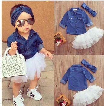 Baby Girl Fashion Set Abbigliamento Bambini Maglie a manica lunga Top + Shorts Gonna + Arco Fascia 3PCS Outfits Kid Tuta