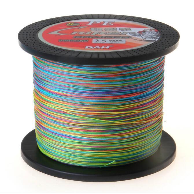 1000 м хроматические разноцветные экономически эффективным супер литой 8 пряди плетеный лески 10-170 фунтов PE линии Привет-класс производительности высокое качество