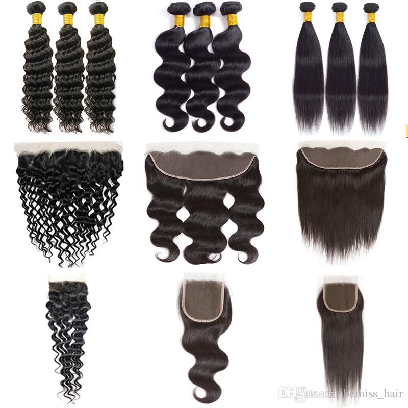 Brazilian Virgin Hair Body Wave Bundles with Closure Unprocessed Indian Straight Human Hair Bundles with Frontal Water Deep Kinky Curly