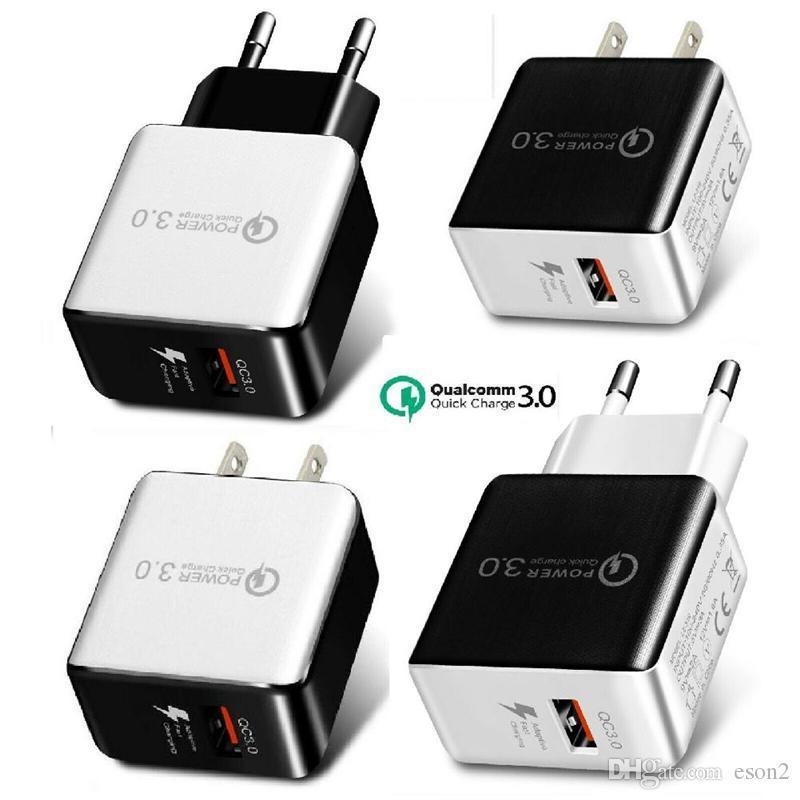 QC 3.0 Rápido carregador de parede USB Adapter Quick Charge 5V 3A 9V 2A Travel Power carregamento rápido US EU Plug forSamsung Huawei HTC