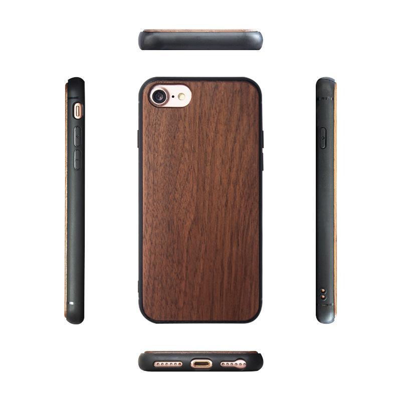 Real de madeira Mobile Phone para iPhone 11 PRO XR XS X 8 7 Plus cereja Bamboo TPU pode costume seu projeto