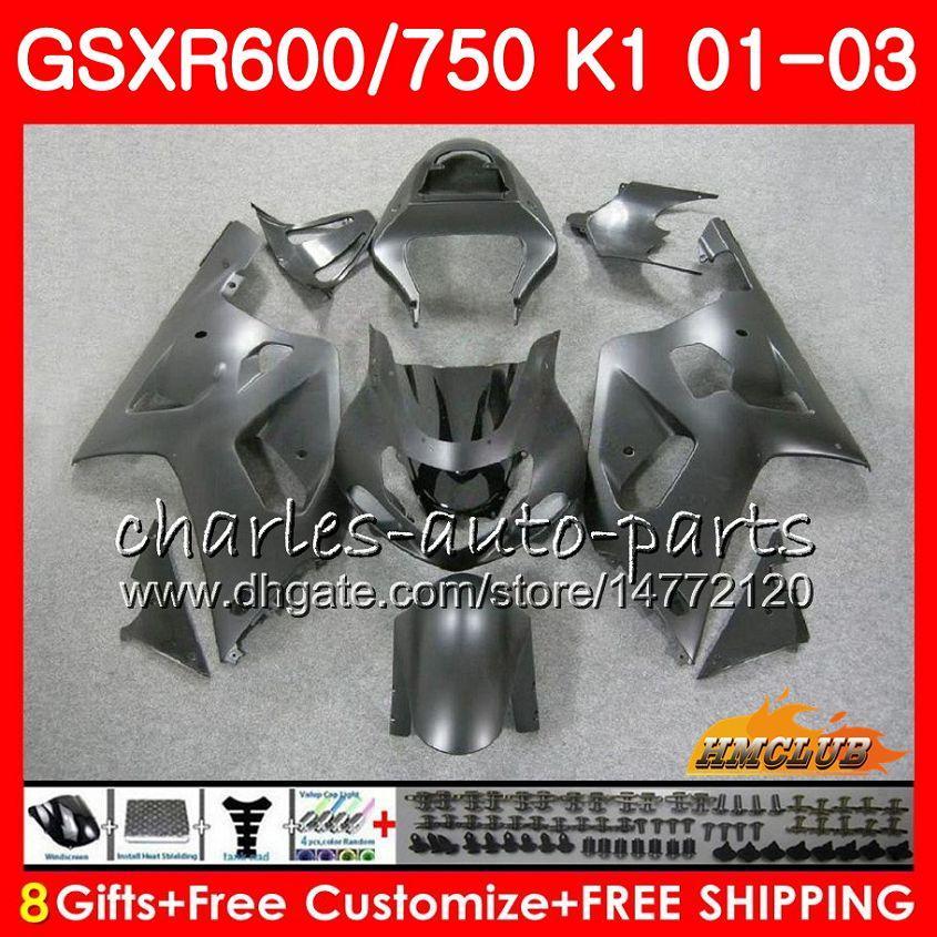 8Gifts 바디 스즈키 GSXR750 매트 블랙 핫 GSXR 600 750 GSXR600 01 02 03 4HC.17 GSXR600 K1 GSX R750 GSXR750 2001 2002 2003 페어링 키트