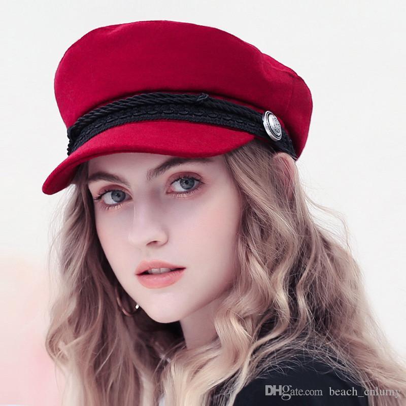 Kış Beyzbol Şapkası Kadın Fransız Stil Yün Baker Boy Şapka Cap Şapka Bayan Beyzbol Şapka Siyah Güneşlik Hat 2019 Casquette Aksesuarlar Soğuk