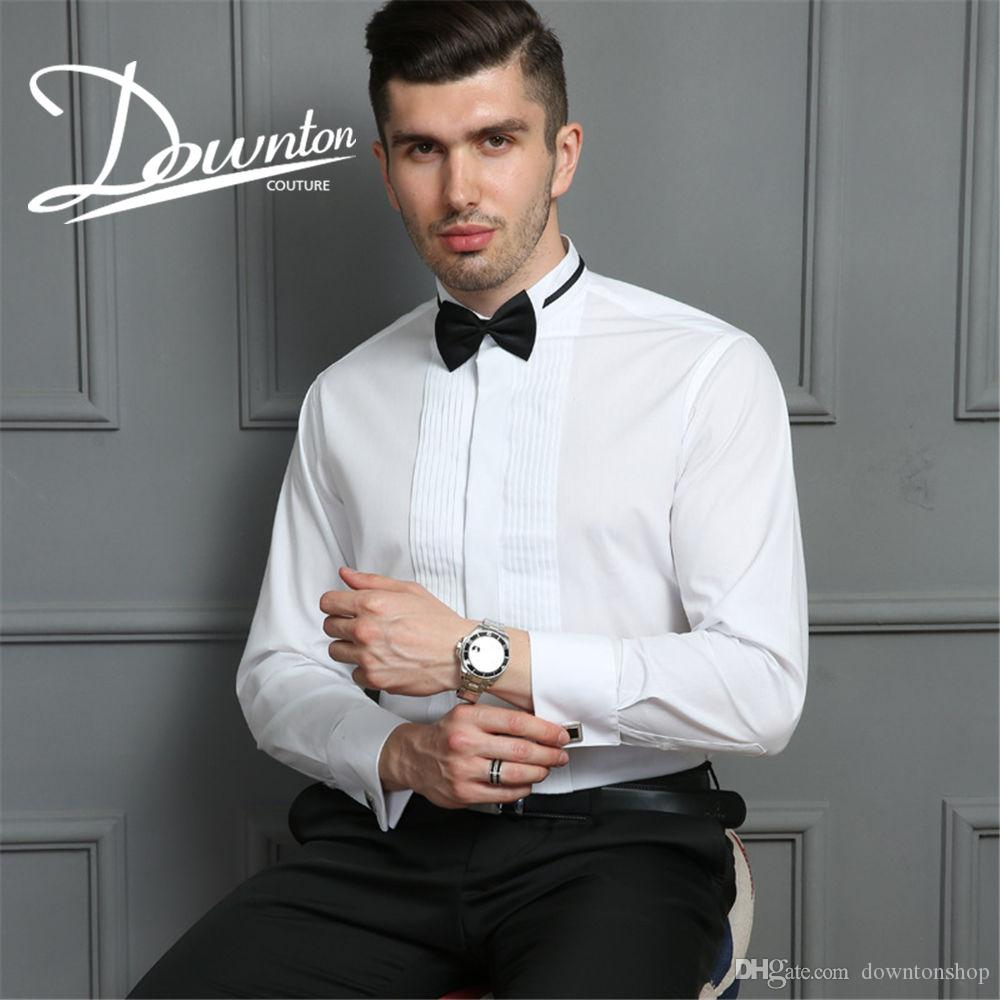 Non-iron Wedding Tuxedo Polo Shirt Hot Sell best Men Weddings Shirts grooms Long Sleeved formal business tops Pure Colors best sellers