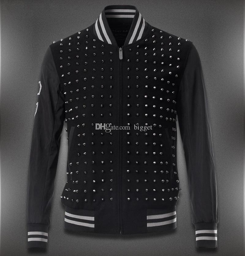 Men Rivets Patch Woollen Baseball Jacket Stand Collar Studs Applique Slim Fit Embroidery G On Sleeve