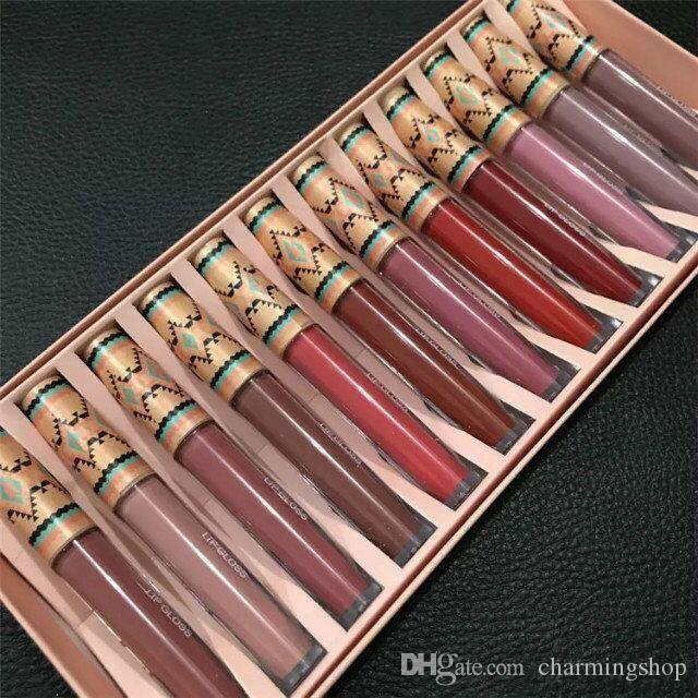 M Brand Matte Vibe Tribe Lip Gloss 12PCS Set Liquid Lipstick Lip Moisturizer Long-lasting Natural 12 Colors DHL free shipping