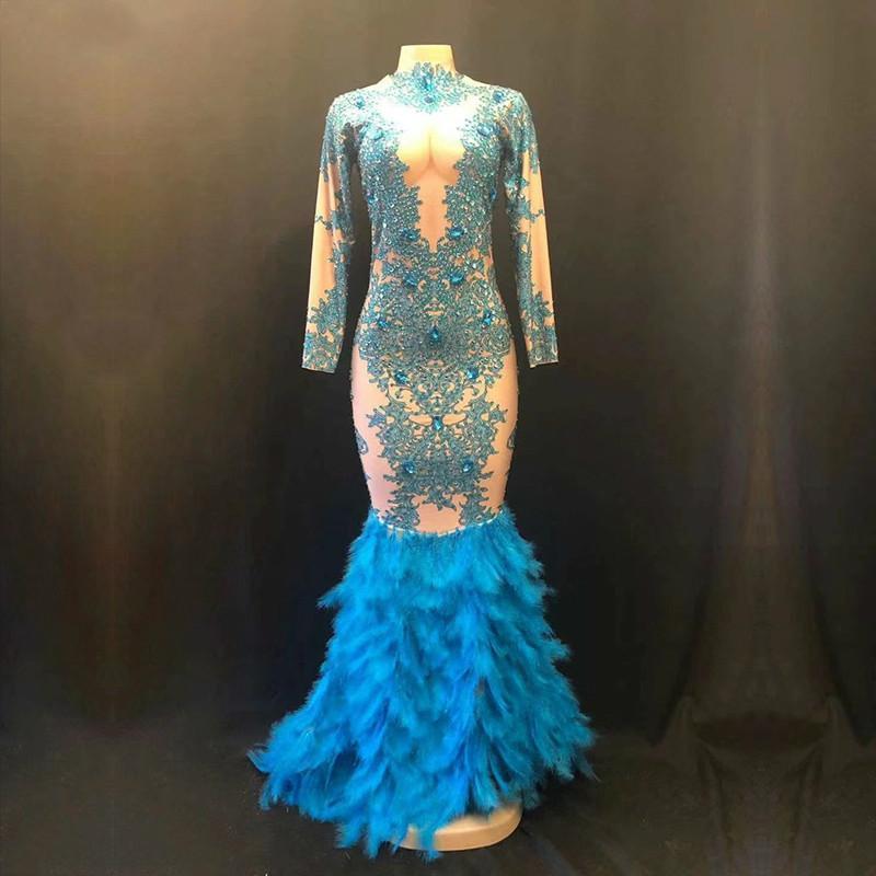 Moda Sparkly Strass Blue Feather Nude Dress Pietre lunga piena Big Tail Costume Prom Dresses Compleanno Festeggia