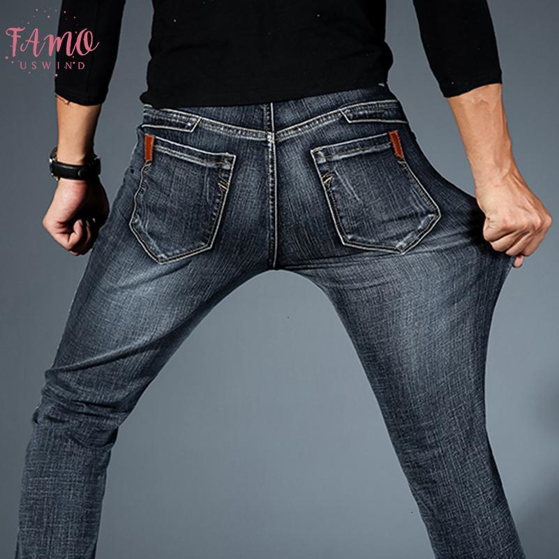 Yeni 2019 Erkek Moda Siyah Mavi Düzenli Jeans Erkekler Rasgele İnce Stretch Jeans Denim Pantolon Pantolon Artı boyutu 28 42 Yüksek Kalite