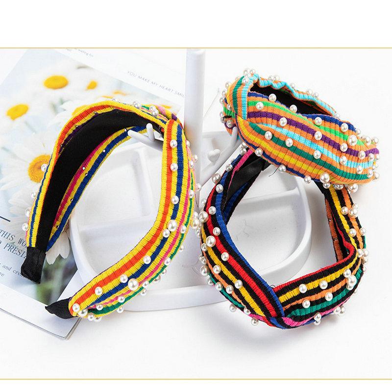 Arcobaleno Hit bande di colore fascia a righe Hairband capelli della fascia per le donne perla Testa a righe con stampa floreale Hair Style KZgir