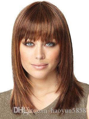 nouvelle perruque moyenne de cheveux brun droit perruque de mode pour femmes perruques livraison gratuite