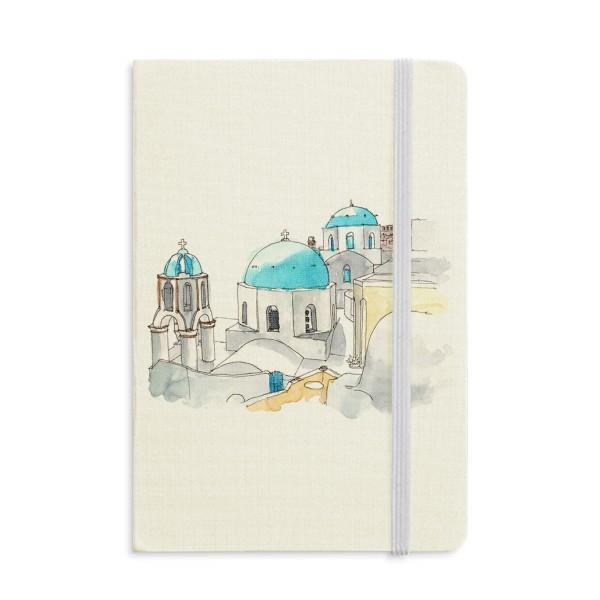 Santorini Yunanistan Notebook Kumaş Sert Kapak Klasik Dergisi Günlüğü A5 Imerovigli Köy