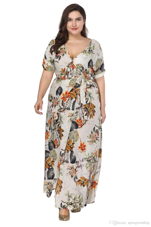 Vestidos Longos Women Long Maxi Dress Autumn Floral Boho Style Long Sleeve 2019