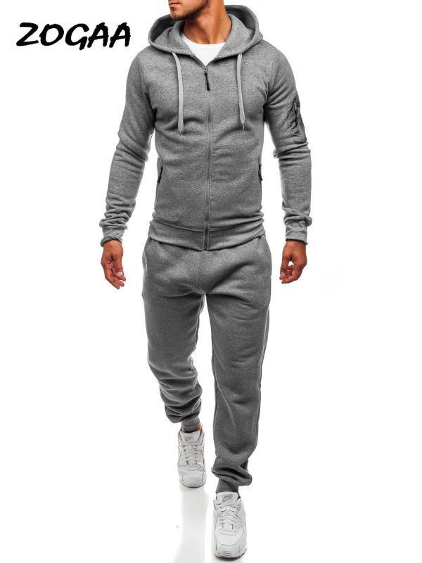 ZOGAA 2020 Primavera di vendita calda degli uomini di sport e tempo libero Slim jogging tute con cappuccio + vestito di pantaloni cSweatshirt sportivo Set 2pc
