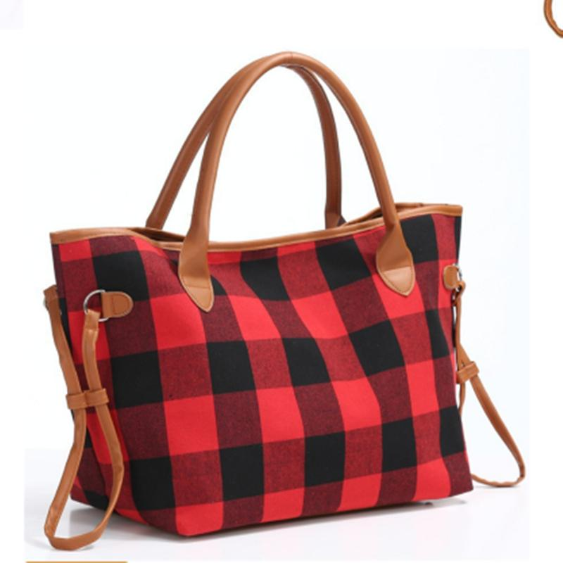 Shoulder Check Handbag Sports Leopard Tote Bags Large Red Black Capacity Plaid Buffalo Bag Duffle Crossbody Travel Handbag EJJ68 Qtjhw