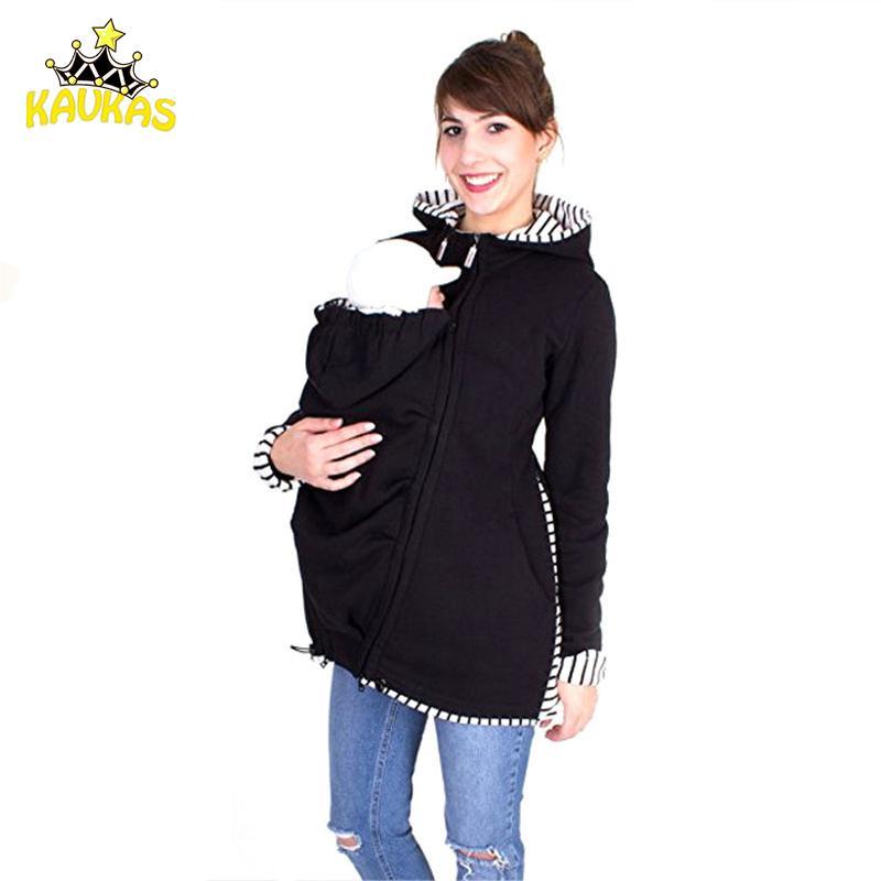Kavkas الطفل الناقل سترة الكنغر هوديي الشتاء الأمومة قمم قميص معطف لل نساء الحوامل تحمل الطفل ملابس الحمل Y190525