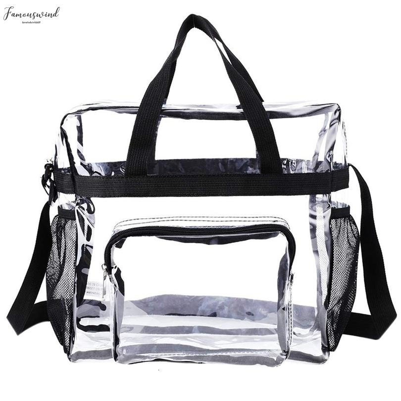 Transparent Tote Bag Stadium Security Travel And Gym Clear Pvc Bag, See Through Tote Bag For Work, Sports Games And Concerts