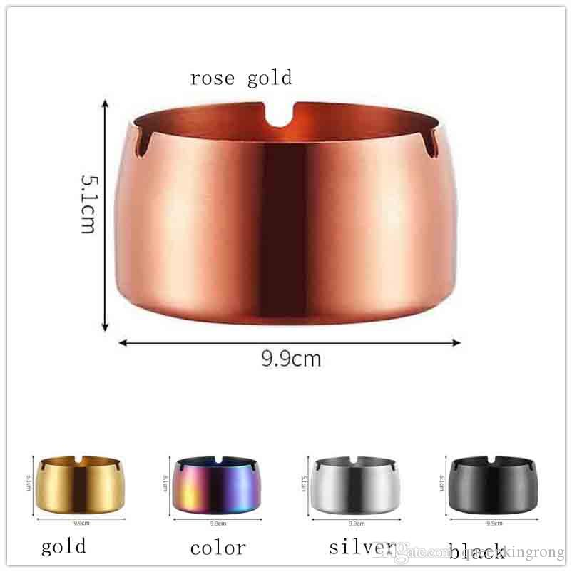 304 stainless steel Metal ashtray Smoking Accessories windproof simple titanium plating cone car cigarette Holder Case Tool 5 Colors 3 sizes