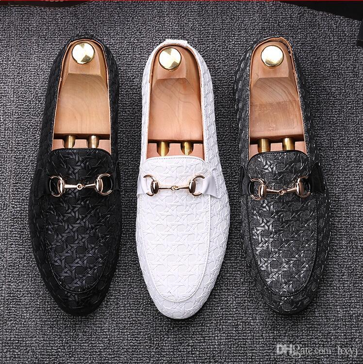 Scarpe moda casual 2019 uomini di lusso in oro rosso scintillio libero Infilare da sarchiatura Rivetti fannulloni scarpe Man Party Scarpe S244