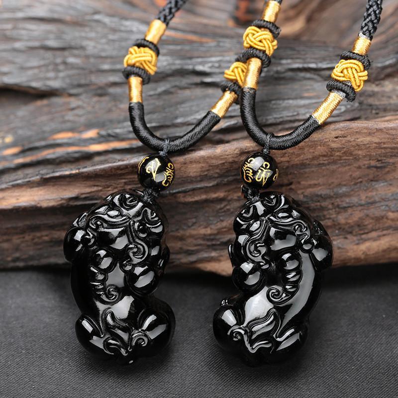 자연 블랙 흑요석 새겨진 부처님 PIXIU 동물 행운의 부적 펜던트 목걸이 여성 펜던트 쥬얼리