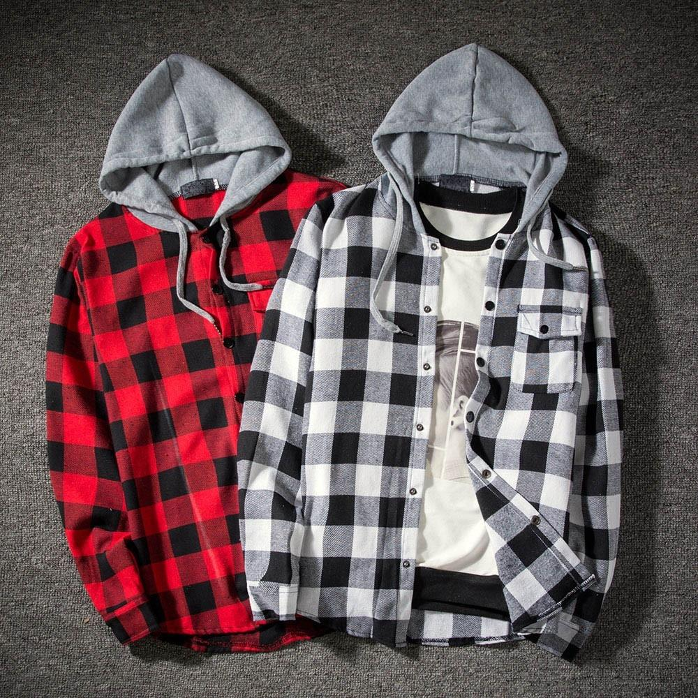 Mens Hoodie Long Sleeve Shirts Males Autumn Winter Pullover Solid Plaid Sweatshirt Outwear Top Blouse