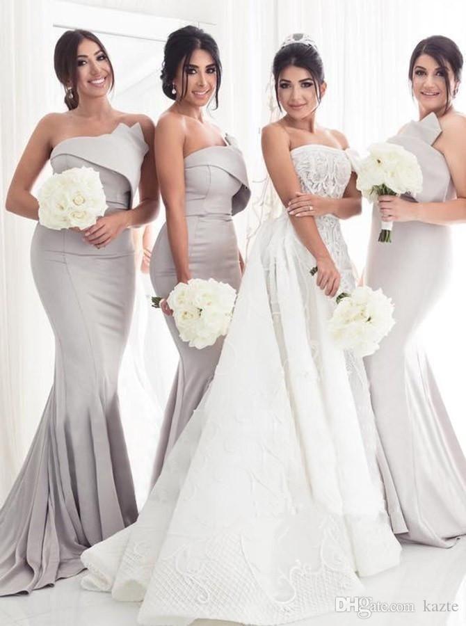 2020 싼 우아한 끈이없는 인어 Bridesmaiddresses와 주름 바닥 길이 새틴 맞춤 제작 웨딩 게스트 드레스