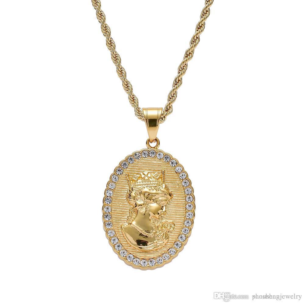 Pendenti della regina della corona dell'acciaio inossidabileNecklace Colore dell'oro Colore degli uomini di donne Regalo dei monili di Hip Hop SN204