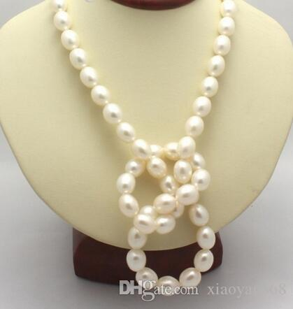 """Оптовая продажа реального 12 мм Южное море белый барокко жемчужное ожерелье 35 """" свадебные украшения"""