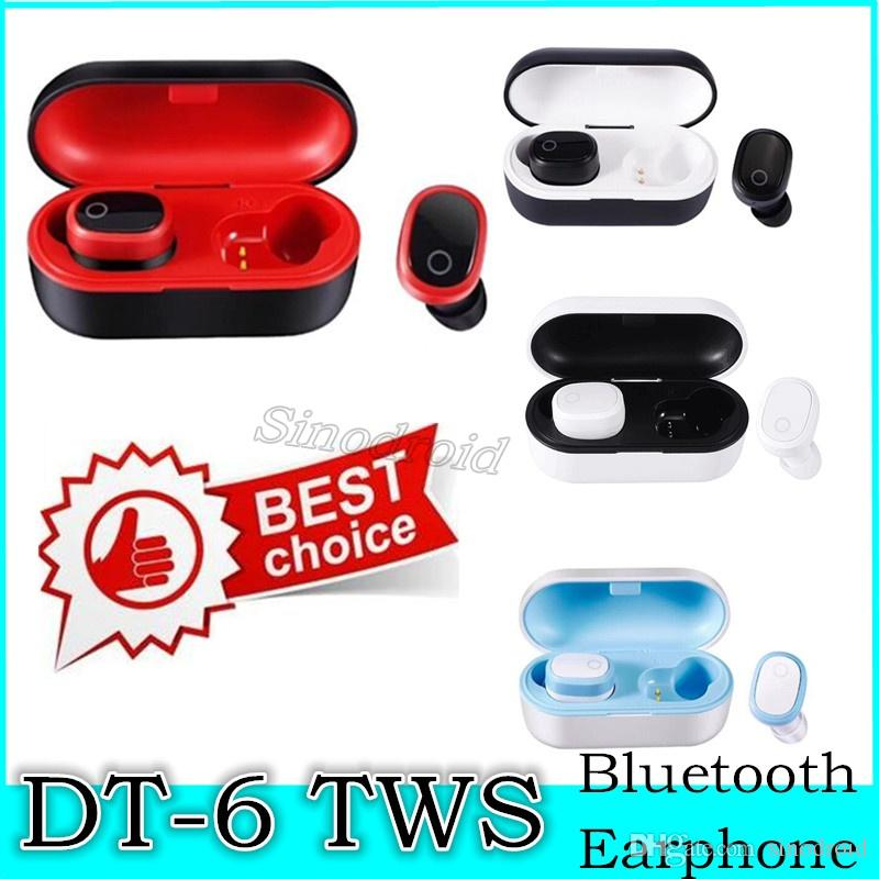 Intra-auriculaire DT-6 TWS sans fil Bluetooth 5.0 Oreillettes écouteurs stéréo Réduction du bruit Casque sans fil Casque de sport avec chargeur Case 50pcs