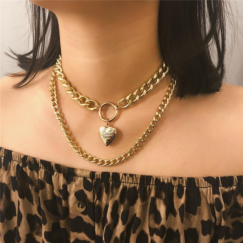 Herz-Liebe Halskette Medaillon Goldketten mehrschichtigen Halskette-Halskette Schmuck Frauen Halskette Hip-Hop-38020