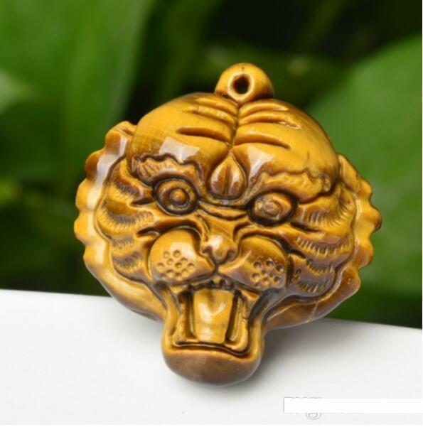 Grosso 100% Eye Gem Mão Natural Tiger Cabeça cinzelada do tigre pingente + colar livre Ouro Lucky pingente de multa