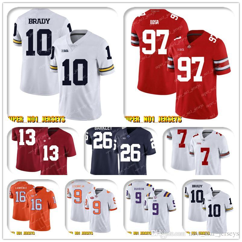NCAA 10 Tom Brady Trevor Lawrence Clemson Tigers Koleji Futbol Jersey Gardner Minshew C.J Henderso K'Lavon Chaisson Blake Bortles