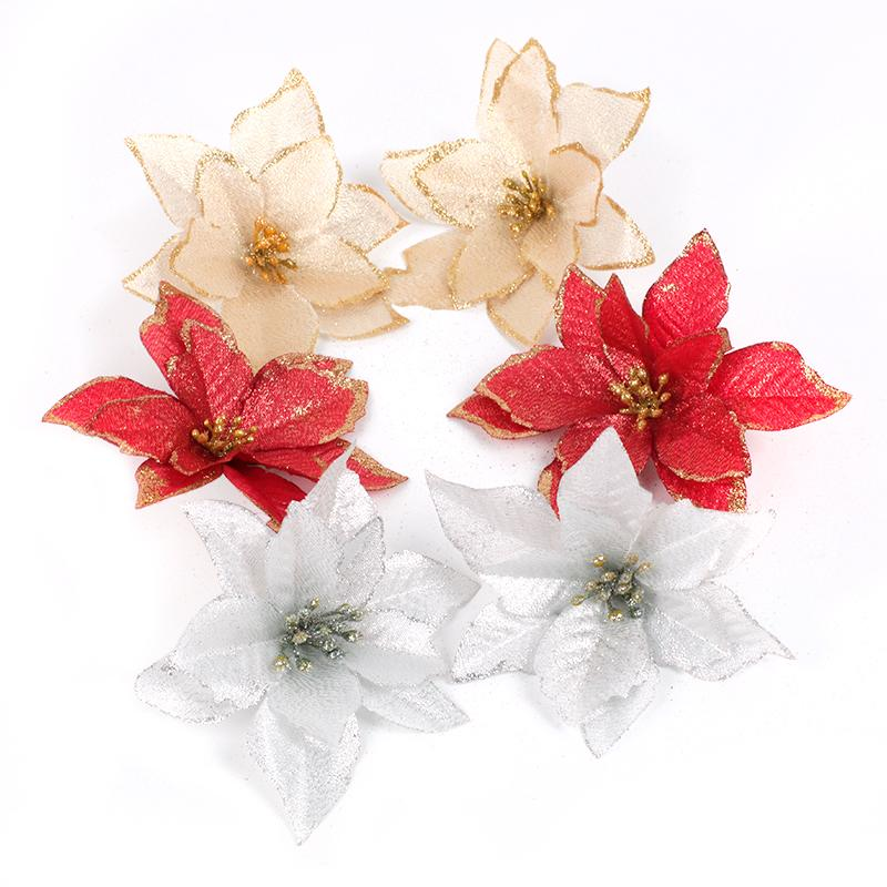Red Glitter Poinsettia Flower Christmas Tree Ornaments Christmas Decorations For Home Xmas New Year Decor Party Supplies Decorating For Xmas Decorating House For Christmas From Hongheyu 21 06 Dhgate Com
