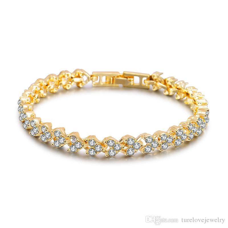 Luxury Austria Crystal Bracelets gold Silver rose gold Charms Bracelet with Zircon Diamond Roman Tennis Bracelet