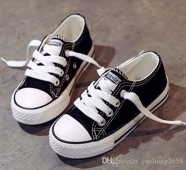 New style classic kids canvas shoes fashion high - low shoes boys and girls sports canvas shoes children Baby Casual sneakers