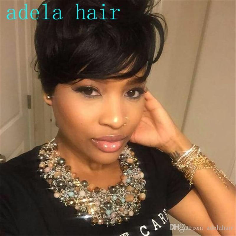 İnsan saç Ladys 'Saç Peruk Tam makine yapımı Peruk Kapaksız Rihanna Stil Yeni Şık renk Siyah Kısa pixie cut Düz Afrika Amerikan peruk