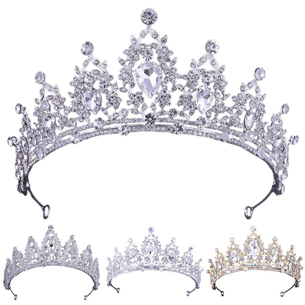 Les femmes Princess Crown Bandeau cristal strass diadèmes et couronnes à la main Bijoux en argent cheveux bande cheveux de mariée