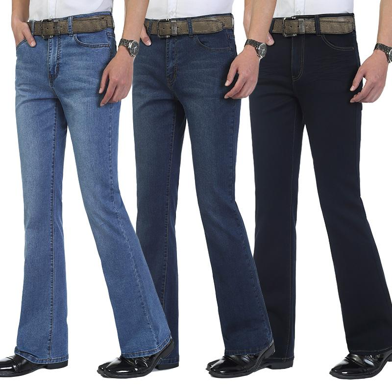 Mens casual stretch Skinny Mid Waist Flare Jeans Trousers Boot cut Pants male Streetwear Spring 2020 New Sale