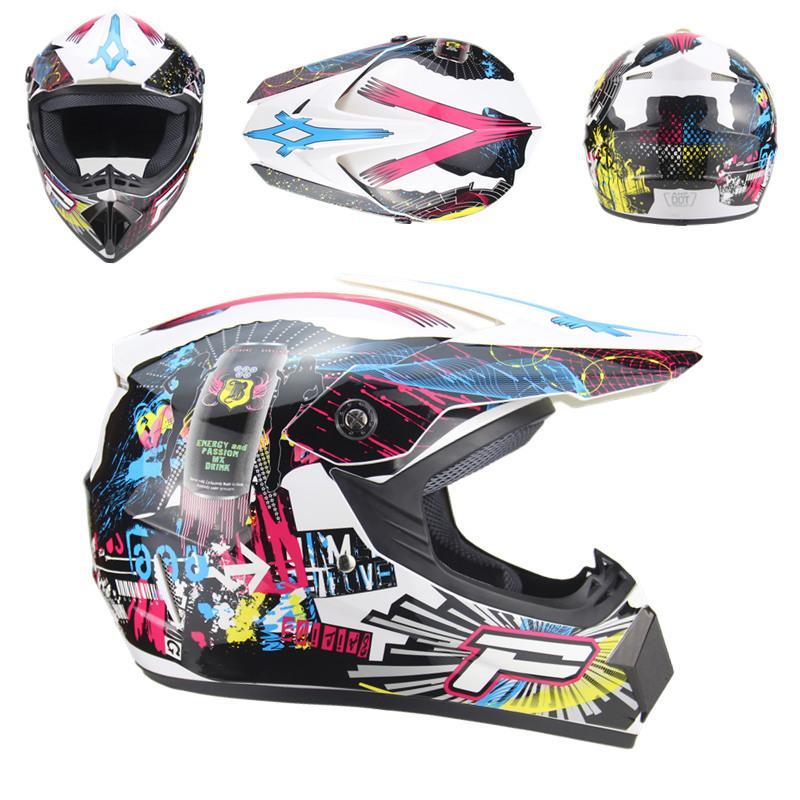 A Motocross Helmet Ni/ños Motocicleta Casco Motocross Casco Ni/ños Rosa Visor Completo Off Road Cross Cascos Con Gafas,L 56~57Cm