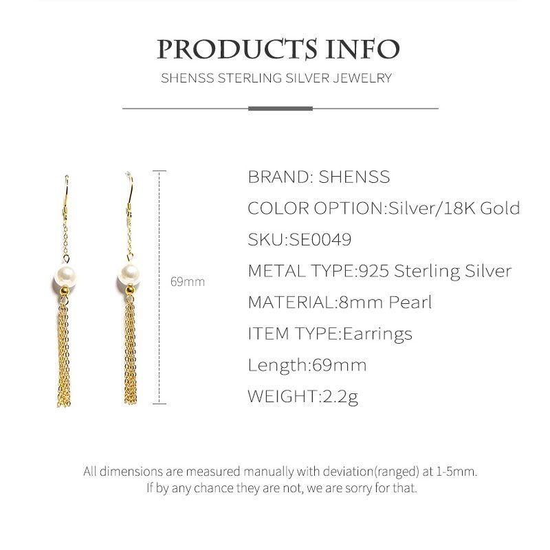 SHENSS 925 Sterling Silver Earrings Quality Drop Earring For Women Girl Gift SE0049