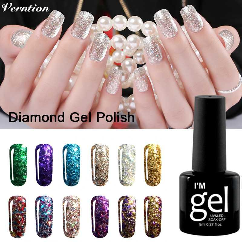 Verntion Platinum Paint Gel Glitter Diamond Gel Nail Color Nail Polish UV LED Lamp Shimmer For Nails Art Soak Off Lacquer