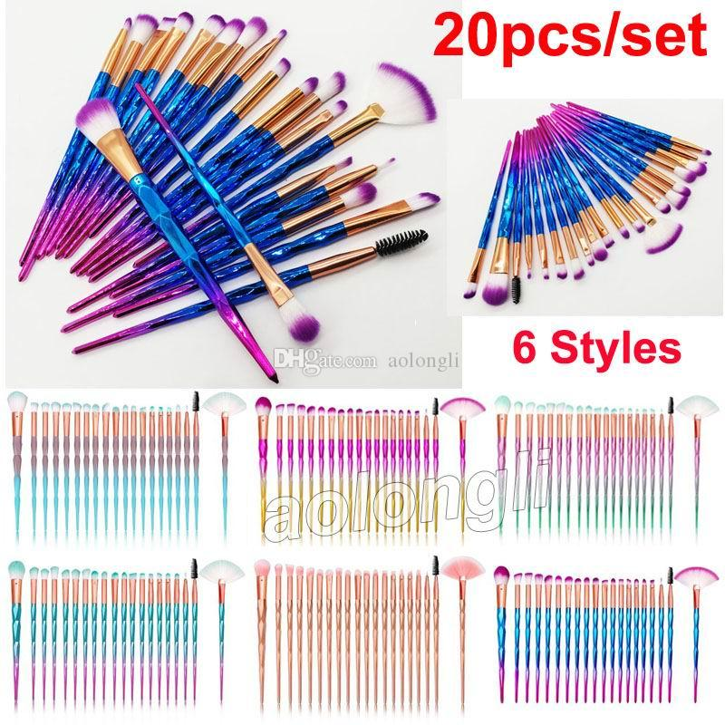 Diamond Makeup Brushes 20pcs Set Powder Brush Kits Face and Eye Brush Puff Batch Colorful Brushes Foundation brushes Beauty Cosmetics by DHL