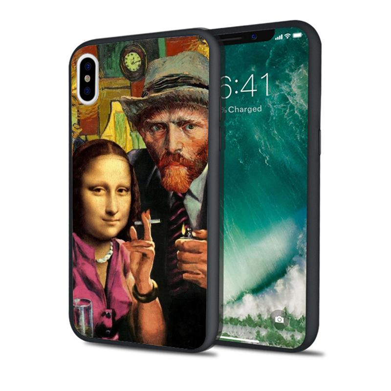 Coque Mona Lisa Art Phone Case for iPhone 11 Pro Xs Max Xr 8 7 6s Plus 5S SE 5 Case Black Soft Silicone Cover.