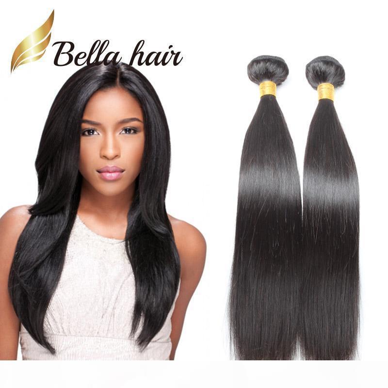 Bella Saç? Popüler Brezilyalı Saç Uzantıları Çift Atkı Doğal Renk 9A Düz Saç Paketler 2adet çok karışık Uzunluğu 10 ~ 24inch örgüleri
